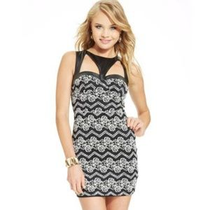 Material Girl Faux Leather Floral Lace Dress Sz. M